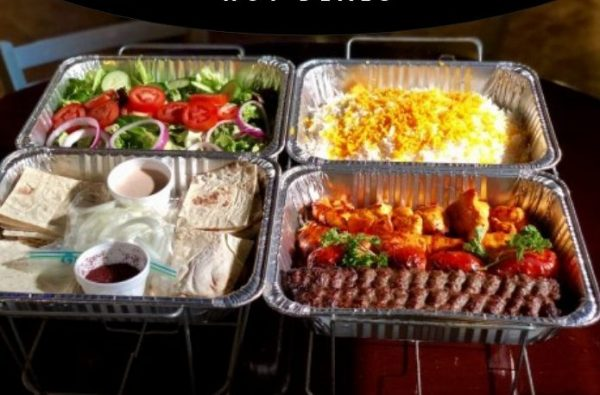 Kabob and chicken with rice and salads